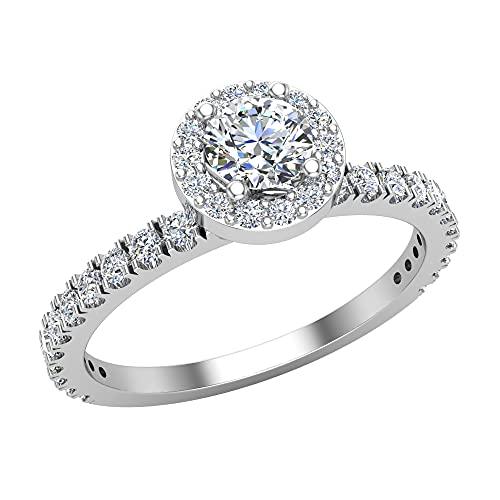 Anillo de compromiso redondo brillante con halo de diamantes para mujer, apilable francés pavé conjunto de oro de 18 quilates de 0,70 quilates (G,VS1), Piedra, Diamond,