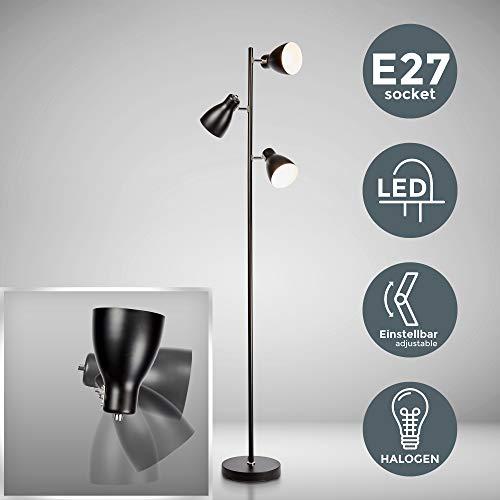 B.K.Licht Lámpara de pie diseño I 3 luces I Negro I Bombilla E27 máx. 25 W (excl.) I Altura 1665mm I Métalica I Para salón, dormitorio y estudio