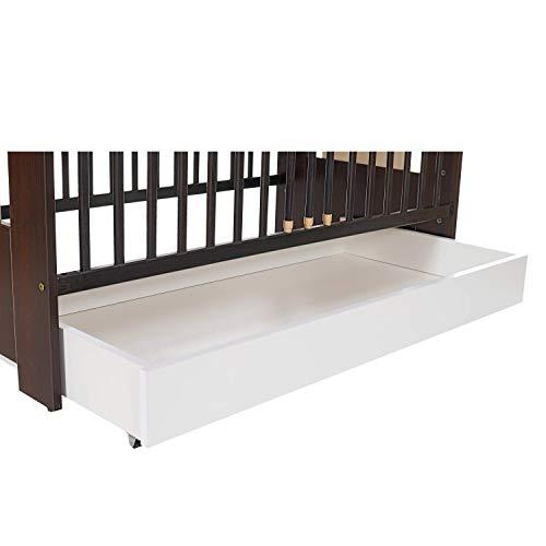LCP Kids Schubladen Bettkasten mit Rollen zur Aufbewahrung von Kleidung, Bettdecken, Bettzeug oder Spielzeug für 120x60 cm Bett
