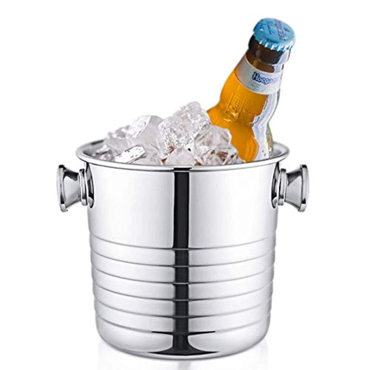 PLLXY Stainless Steel Ice Bucket Handle,Insulated Champagne Bucket,Brushed Wine Bucket Beer Bucket Ice Tub Bar Ktv Outdoor Home-a 1.8l