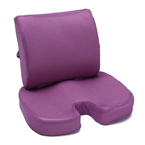 XIXV Orthopedic Memory Foam Seat Cushion Waist Pillow Tailbone Lumbar Support Support Office Dwelling Cushion cover (Color : Purple)