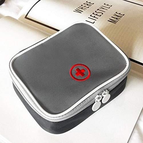 Bolso médico Deportivo al Aire Libre Mini Kit de Primeros Auxilios portátil Paquete Multifuncional Supervivencia de Emergencia Bolsa vacía para Viajes de Camping (Gris) ESjasnyfall