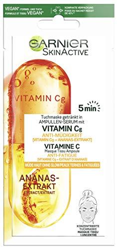 Garnier SkinActive - Masque Tissu Ampoule Anti-Fatigue - Pour Peaux Ternes & Fatiguées - Vitamine C & Extrait d'Ananas