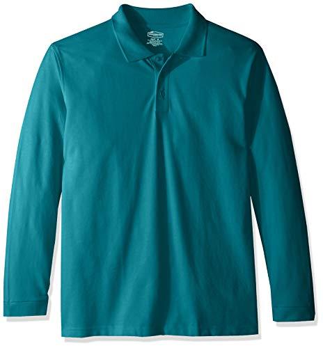 Classroom School Uniforms Men's Adult Unisex Long Sleeve Pique Polo, Teal, XL
