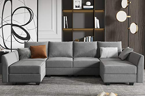 HONBAY Reversible Sectional Couch U-Shaped Sofa with Modern Fabric Modular Sectional Sofa with Chaises, Grey