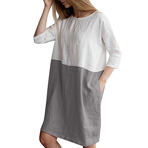 Lulupi Minikleid aus Leinen Weiß Damen Hemdkleid Sommer Casual 3/4-Arm Loose Shirt Dress