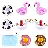 PoolParty 8er Set aufblasbare Pool Getränkehalter, Schwimmende Halter Mit Je 2x Einhorn Flamingo Donut Fußball