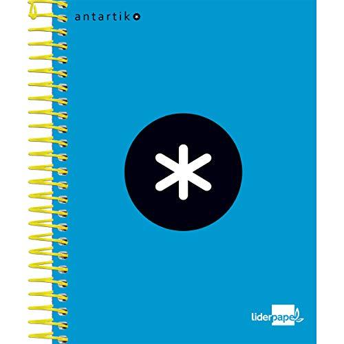 Liderpapel 64634 Cuaderno Espiral A6 Micro Antartik Tapa Forrada 100H 100 Gr Cuadro 5 Mm 4 Bandas Color Azul