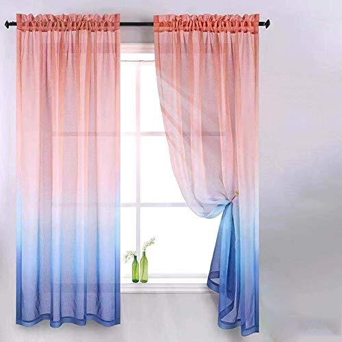 M/W Vorhang Blickdicht Gardinen mit Ösen Moderne Farbverlaufsfenster-Tüllvorhänge für Wohnzimmer Schlafzimmer Voile Sheer Stoff Vorhänge Panels Home Decoration