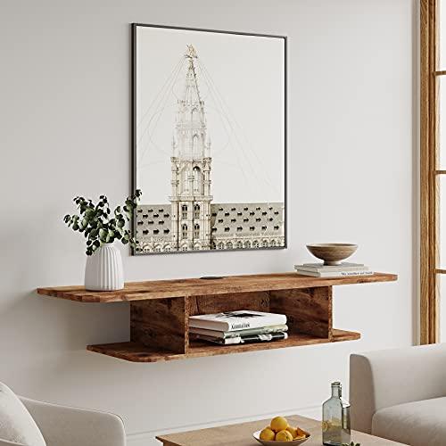 FITUEYES TV Board Hängend Multimedia Wandregal in Holz mit Kabelmanagement und Flügel-design, Wohnzimmer Hängeschrank Wohnwand für DVD-Player/Receiver/Hi-Fi, 105 cm, DS210505WM