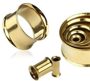 GOLD Emeco® - Dilatador para oreja (doble aleta, acero quirúrgico 316L, 2,4 mm), color dorado