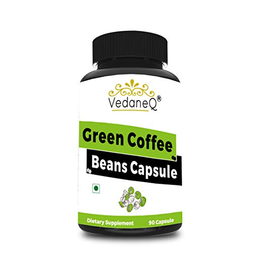 VedaneQ Green Coffee Beans For Weight Loss Capsules Supplement | Pure Green Coffee Beans Extract Double Strength 1600mg, 90 Veg Capsules