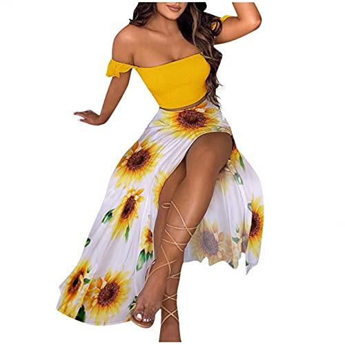 Damen Kleid Schulterfreies Langeskleid Chiffon Party Maxikleid 2-teiliger Satz mit Oberteile und Röcke Punkt Sommerkleid Dot Print Sexy Kleider Geschlitzt Cocktailkleider (Gelb,S)