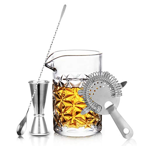 Crystal Cocktail Mixing Glass Set - 15 oz 450ml - 4 Piece, Thick Weighted Bottom, Bar Accessories and Tools Set with Strainer, Spoon, Jigger