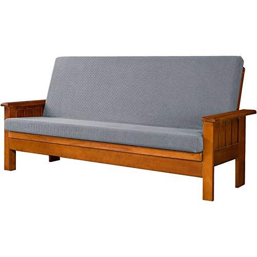 HUNOL Protector para Futón Couch, Lavable Funda elástica de Sofá Sin Brazo Antideslizante Cubierta de Sofá Cama Sin Reposabrazos Protector de Muebles para Niños Mascotas-Gris Claro-Clic clac