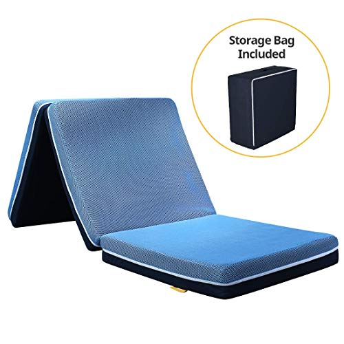 Smile Back 4 inch Trifold Mattress XSmall Size, Tri-Folding Memory Foam Mattress Topper, Blue, Folding Mattress, Camping Mattress, Portable Guest Bed, Foldable Bed for Stayover [75 x 25 x 4 Inch]