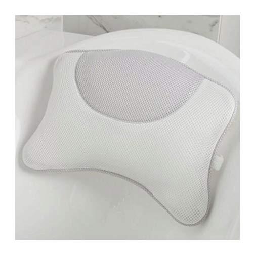 LOMJ Almohada de baño de secado rápido con ventosas, cuello universal, antideslizante, ayuda a apoyar la cabeza, espalda, hombros y cuello (color: gris)