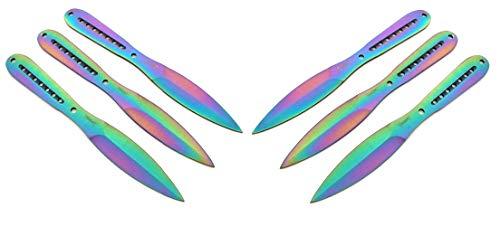 KOSxBO® 6 teiliges Set Flipflop Rainbow Trainingsmesser Wurfmesser Set - Wurfdolch 22,5 cm - Freizeit - Outdoor - Prepper - Survival - Messer - inklusive 2 Etuis - Hunter Knife - Throwing Knives