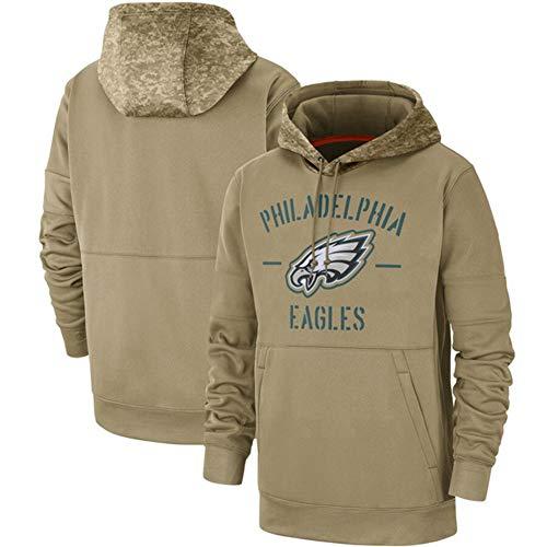 DKZ Herren Pullover - NFL Philadelphia Eagles Hoodie, Kapuzenpullover Pullover Sport Langarm-Sweatshirt Fußball-Jacken - Olive,XL