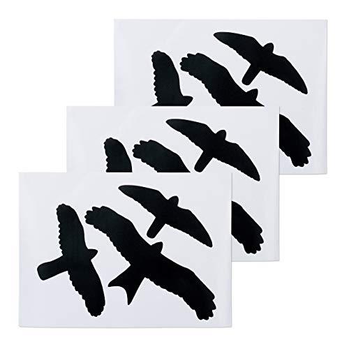 Relaxdays Vogelaufkleber, Warnvögel für Fensterscheiben & Glastüren, Vogel-& Fensterschutz, 9 Aufkleber im Set, schwarz, PVC