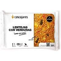"""CASCAJARES - Lentejas con verduras """"como en casa"""" - sabroso plato de legumbres, rico, cómodo y sano. Bandeja 300 gramos, listo con 3 minutos de microondas. Sin gluten ni lactosa."""