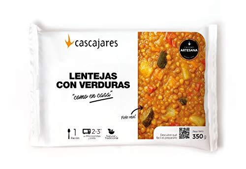 CASCAJARES - Lentejas con verduras 'como en casa' - sabroso plato de legumbres, rico, cómodo y sano. Bandeja 300 gramos, listo con 3 minutos de microondas. Sin gluten ni lactosa.