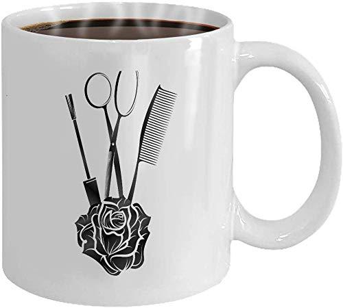 Rael Esthe Kaffeetasse 11 Unzen Weiß Keramik Lustiges Geschenk Friseurschere Rose Comb Silhouette Farbe