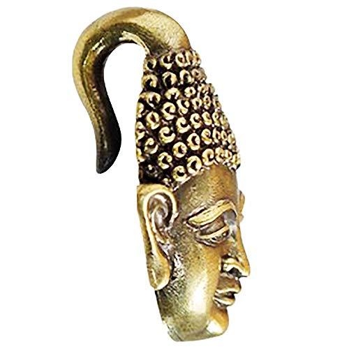 Chic-Net Peso de la oreja: 6 mm, cabeza de Buda, latón envejecido, dorado 28 g, dilatador, caracol dilatador, espirales, oro, peso de los oídos, latón, para hombre y mujer