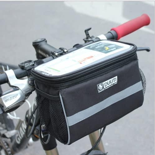 フロンドバッグ 自転車 透明タッチスクリーンポーチ 自転車用バッグ 前カゴ 反射テープ 着脱簡単 大容量 収納アクセサリー 装着簡単 高い耐摩耗性 夜間サイクリング ブラック