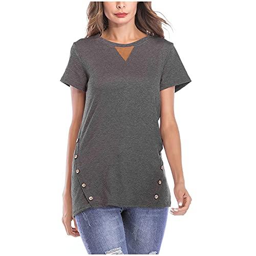 Lalaluka Camiseta de mujer elegante con botones de un solo color, cuello en V, blusa de verano para mujeres, blusa, túnica, blusa, camiseta de manga corta gris oscuro S