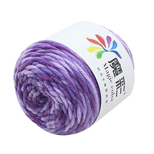 Clearance Sale!! Wool Yarn,Rainbow Wool Balls Cotton Crochet Premium Softest Natural Yarn Sweater Scarf Line Cotton Wool Thread, DIY (F)