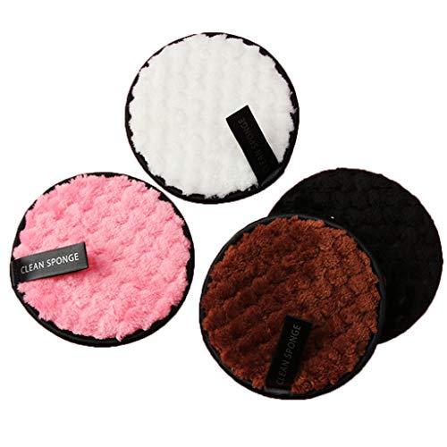 Démaquillage Éponge Flutter, Fulltime 4pc démaquillant serviette chiffon de nettoyage du visage pad en peluche bouffée paresseux double-face microfibre démaquillant puff