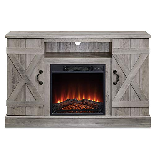 """BELLEZE 47"""" TV Stand Entertainment Center for TV's Up to 50"""" W/Infrared Electric Fireplace and Remote Control, Grey Wash"""