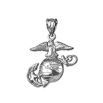 LA BLINGZ Sterling Silver US Marine Corps Pendant  S-1.10