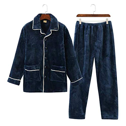 LLSS Ropa de Dormir Pijamas para Hombres Conjunto de Pijamas de Terciopelo Coral cálido Grueso Servicio a Domicilio de Gran tamaño Modelos de otoño e Invierno Pantalones grues