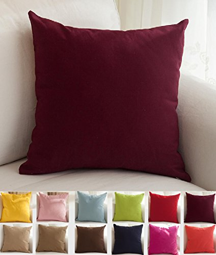 TangDepot Cotton Solid Throw Pillow Covers, 26' x 26' , Wine