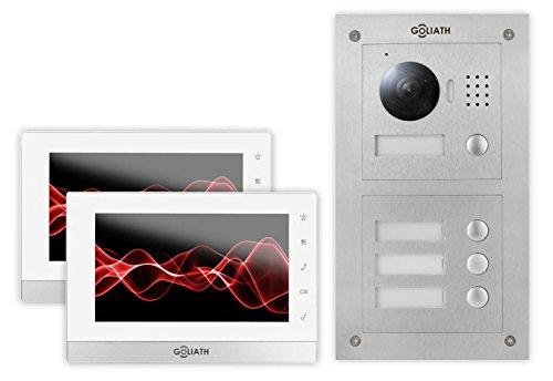 GOLIATH IP Türsprechanlage 2-Familienhaus, Unterputz Türstation, Edelstahl, HD Kamera, App mit Türöffner-Funktion, 7 Zoll Touchscreen, Video-Speicher, Set, AV-VTC50