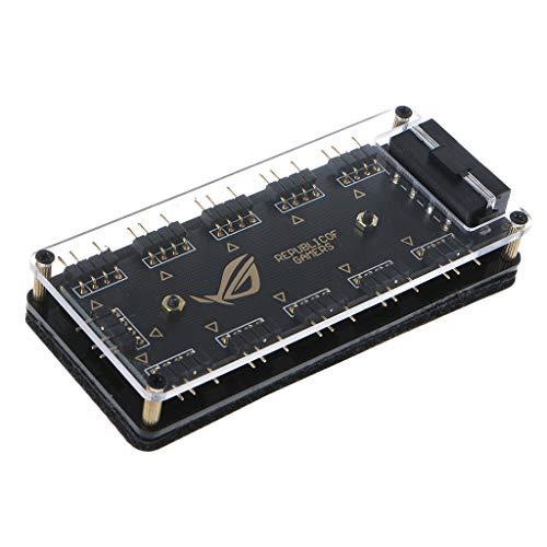 Jiamins Easy Convenient Aura Sync 5V 3-Pin RGB 10 Hub Splitter SATA Netzteil für Gigabyte MSI A SUS