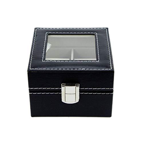 WOWOWO Watch Box 2 Slots Schwarzes Leder Transparent Top Square Watch Display Geschenketui