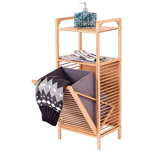 DREAMADE Badregal mit Abnehmbarem Wäschekorb, Badezimmerregal aus Bambus, Badschrank mit 2 Ablagen für Badaccessoires, mit 37 L Faltbarem Wäschesammler, für Badezimmer Schlafzimmer