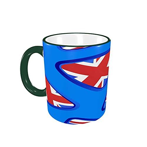 Taza de café Union Flag Blue Fearless Tazas de café Tazas de cerámica con Asas para Bebidas Calientes - Latte, Tea, Cacao, Cereal, Tea Cup, Coffee Gifts 12 oz,Green