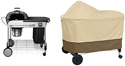 Weber 15401001 Performer Premium Charcoal Grill, 22-Inch, Black with Classic Accessories Cover