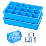 2 Pack Ice Cube Trays, Silicone Ice Cube Trays Molds,Easy Release Square Ice Cubes, Ideal For Alcoholic...