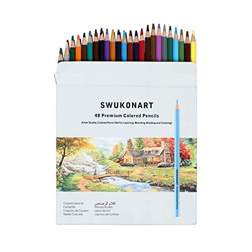 SWUKONART Colored Pencils Set 2448 Colors Premium Soft Core Professional Artist Color Pencils for Adults Beginners Pro Artists Coloring Drawing Sketching Crafting