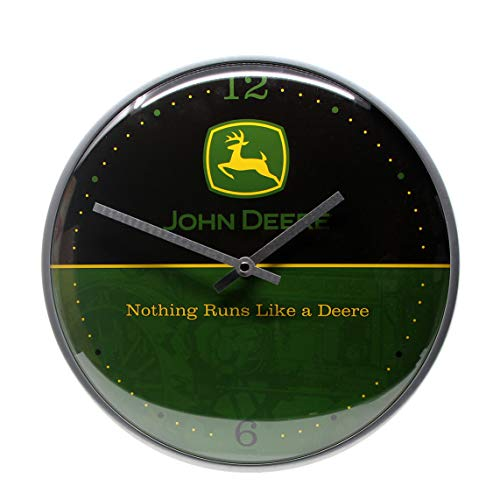 Nostalgic-Art Wanduhr, John Deere - Logo – Black and Green, Small