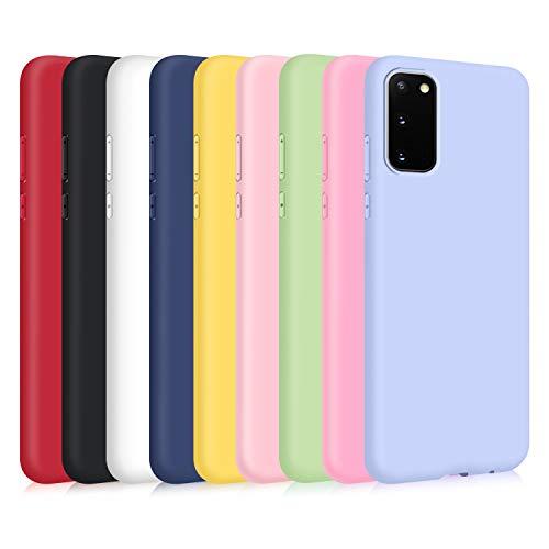 TVVT 9X Hülle für Samsung Galaxy S20 FE, Ultra Thin TPU Hülle Stoßfest Anti-Scratch Hülle (9 Farben) - [ Schwarz + Rot + Weiß + Dunkelblau + Mintgrün + Pink + Dunkelpink + Helles Lila + Gelb ]