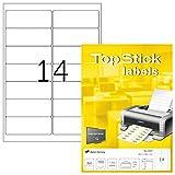TopStick Etichette per Indirizzi, 99,1 x 38,1 mm, Etichette Adesive A4 per Stampante, 14 Etichette per Foglio, Bianco