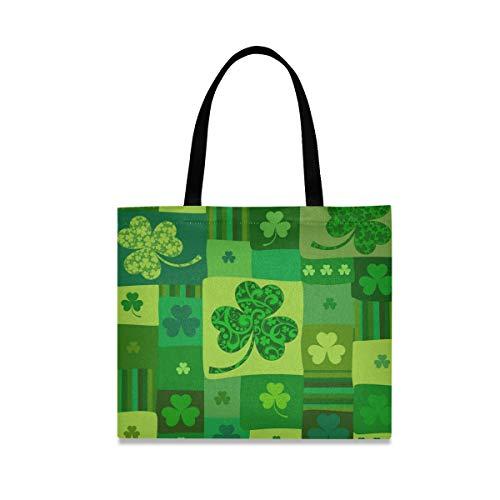 XiangHeFu Reutilizable de gran capacidad Greenleaf Patrick's Day Moda Casual Tote Bag Bolso Llevar
