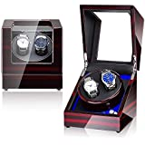 NEWTRY Automatic Watch Winder Double Watches Winder Boxes with Light Quiet Motor for Watches Display for Men and Women Gift AC Adapter and Battery Powered Not Include Watches 1 pcs (Pattern+Black)