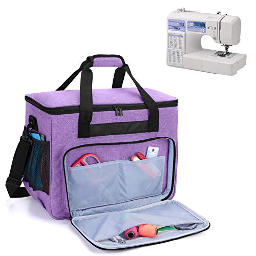 Teamoy Sewing Machine Bag, Travel Tote Bag for Most Standard Sewing Machines and Accessories, Purple